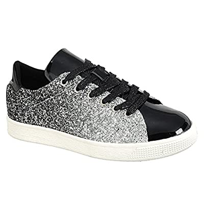Forever Link Women's Glitter Fashion Sneakers (6, Black Glitter-1)