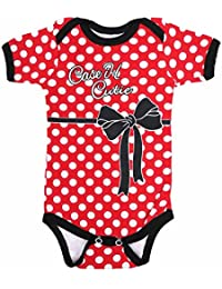 Cutie S/S Red and White Polka Dot Onesie with Black Trim