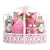 Mother's Day Gifts - Bath Spa Gift Set, SWEETLOVE Gift Basket 7-Piece Includes Bubble Bath, Shower Gel, Bath Salts,Body Lotion, Body Scrub,Best birthday gifts for women, Lily of the Valley Scent