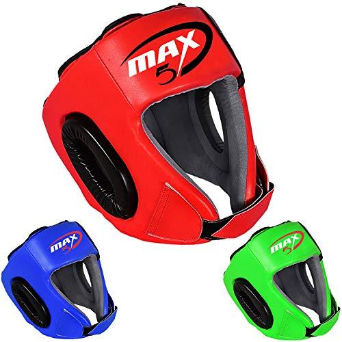 Max5 Boxing Kids Headguard MMA Martial Arts Youth Kickboxing Fighting Training Sparring Head Guard Junior Helmet Muay Thai Taekwondo Karate Judo (Red)