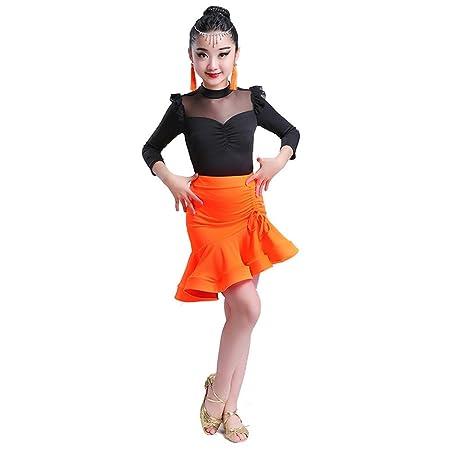 Disfraz de baile de niña Traje de traje de baile latino Ruffle ...
