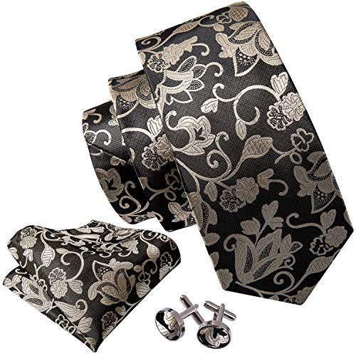 (Barry.Wang Gold Tie Set Flower Silk Neckties for Men Woven,Black 7,One Size)