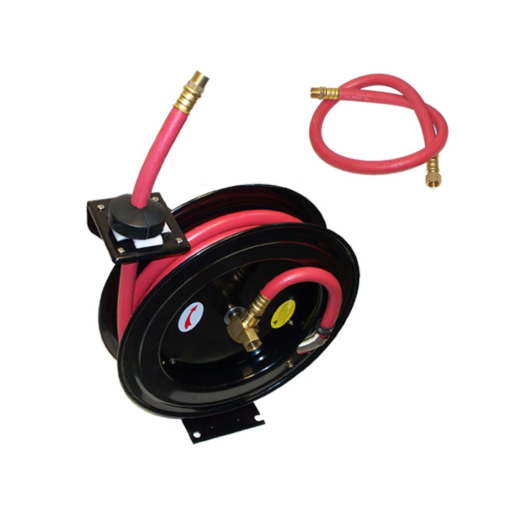 100' x 3/8'' Wall Truck Mountable Retractable Air Hose Reel Rubber 300 PSI
