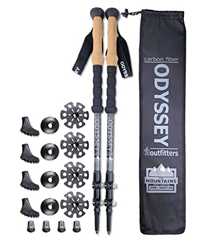 »» ON SALE «« Odyssey Outfitters Carbon Fiber Collapsible Hiking Trekking Poles Quick Flip Lock – Cork Handles – BONUS Accessories – 5 Year Warranty – 2 Poles ULTRALIGHT
