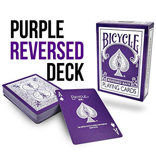 Magic Makers Bicycle Reverse Back Purple Deck - Includes Extra Gaff Cards for Performing Card Tricks