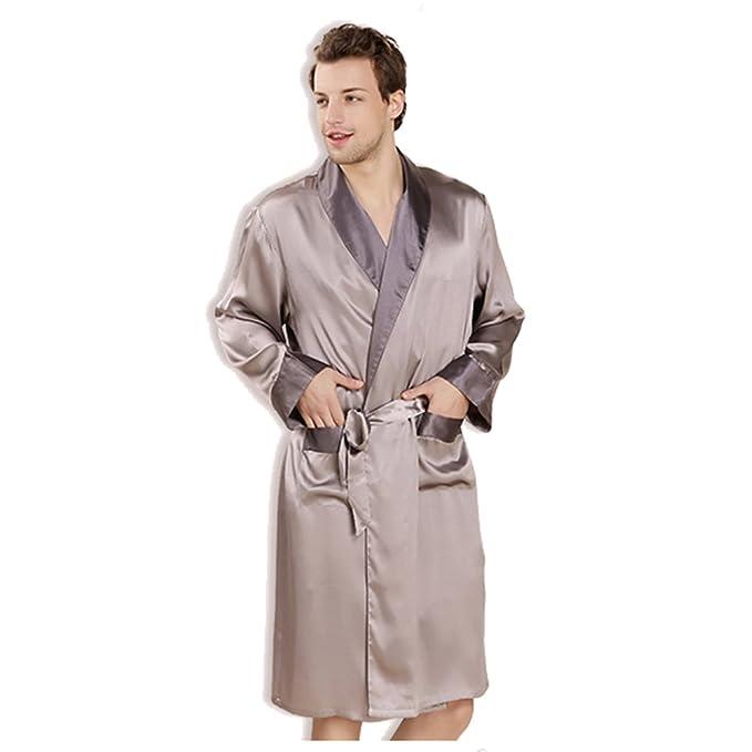 Traje De Seda De 100% Los Hombres, Pijama Satén De Kimono Albornoz Suelto De Manga Larga Ropa De Dormir: Amazon.es: Ropa y accesorios