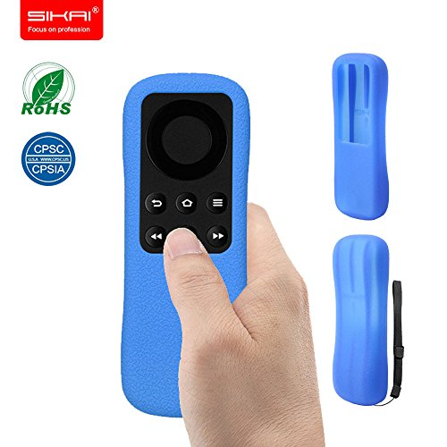 SIKAICASE Silicone Remote Controller Case with Hand Strap for Amazon Fire TV Stick - Blue