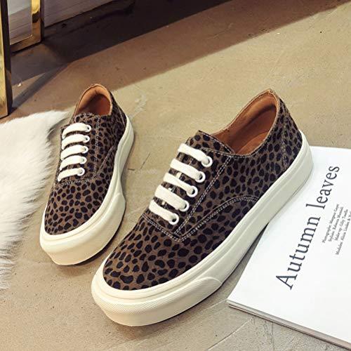 Lacées B De Chaussures Sport Espadrilles Leopard Féminin Plat Étudiant P1BSwqgx