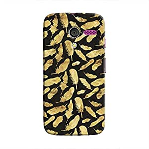 Cover It Up - Gold Feathers Black Print Moto X Hard Case
