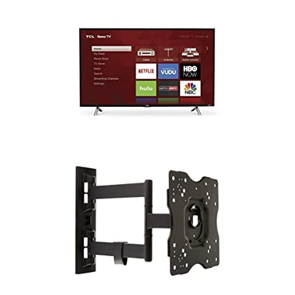 TCL 43S305 43-Inch 1080p Roku Smart LED TV (2017 Model) and AmazonBasics  Heavy-Duty, Full Motion Articulating TV Wall Mount for 22-inch to 55-inch  TVs
