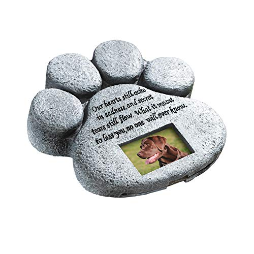 ETC Paw Print Pet Outdoor Memorial Stone, with 2