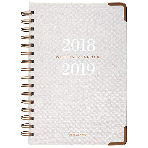 AT-A-GLANCE 2018-2019 Academic Year Weekly & Monthly Planner, Small, 5-3/4 x 8-1/2, Hardcover, Signature Collection, Gray (YP200A12)