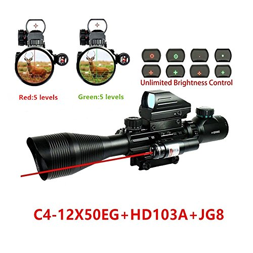 Klau Rifle Scope 4-12x50EG Dual Illuminated with Red Laser Dot Sight and 4 Tactical Multi Optical Coated Holographic Red and Green Dot Sight W/ 22mm Rail Mount for Hunting