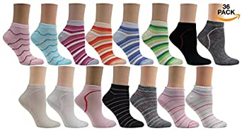 """Bright Star """"36 Pairs""""(0.55 a PAIR!!) Cotton Colorful Low Cut Socks (Size 9-11)"""