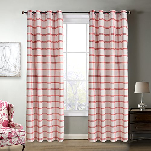 Roslynwood Country Classic Holiday Red Check Plaid Grommet Window Curtain Panel Pair Grid Drapes Rustic Drapery 96 Inch Length 2 Panels Custom Size (Check Drapery)