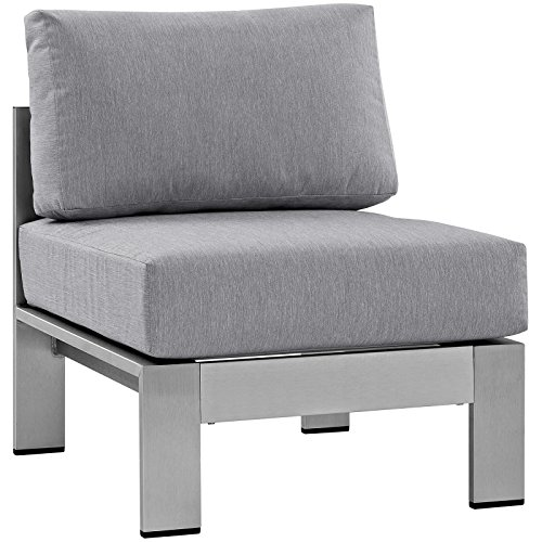 Modway Shore Aluminum Outdoor Patio Armless Chair in Silver - Collection Upholstery Lexington