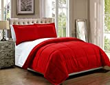 3 piece Luxury Red / White Reversible Goose Down Alternative Comforter set, Full / Queen with Corner Tab Duvet Insert