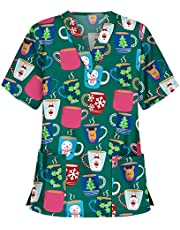 Msaikric Printed Scrub Tops Women Holiday Scrubs V-Neck Short Sleeve Nurses Tshirt Tops Medical Uniforms Tunic with Pocket