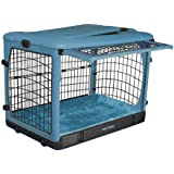 Pet Gear The Other Door Steel Crate with Plush Bolster Bed for cats and dogs up to 30-pounds, Ocean Blue