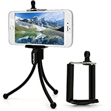 """iGadgitz Black Flexible Mini Table Top Tripod with Pocket Clip + Standard Smartphone Holder Mount Bracket Adapter for Apple iPhone SE 6 6S 4.7"""" 5 5C 5S 4HD 4S"""