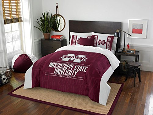 (Mississippi State Bulldogs - 3 Piece FULL / QUEEN SIZE Printed Comforter & Shams - Entire Set Includes: 1 Full / Queen Comforter (86
