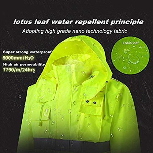 XIAKE SAFETY Class 3 Hi-Vis Reflective Rainwear Breathable Windproof Waterproof Antifouling, ANSI/ISEA Compliant,Yellow (3X-Large, YELLOW)