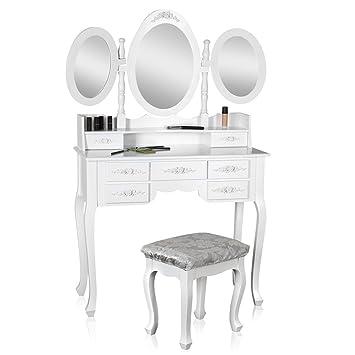 Melko® Schminktisch + 3 Spiegeln mit Hocker im Landhaus Stil, weiß ...