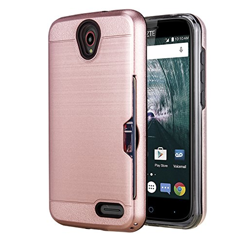 Ymhxcy ZTE ZMAX Grand LTE Case,ZTE ZMAX Champ/Avid 916 / Warp 7 / Grand X3 Case Phone Stand, [Credit Card Slots Holder][Brushed Texture] Dual Layer Protective Cover ZTE Z959-LCK Rose Gold (Zte Zmax Credit Card Phone Case)
