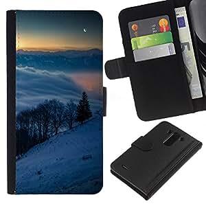 KLONGSHOP // Tirón de la caja Cartera de cuero con ranuras para tarjetas - Snowy Mountains - LG G3 //