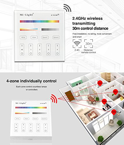 Light B4 Wireless 2.4G RF 4-Zone Wall-Mounted Smart Panel Controller DC 3V Only Work with Mi-Light The Newest RGB+CCT Series LED Light Bulb, Spotlight, ...