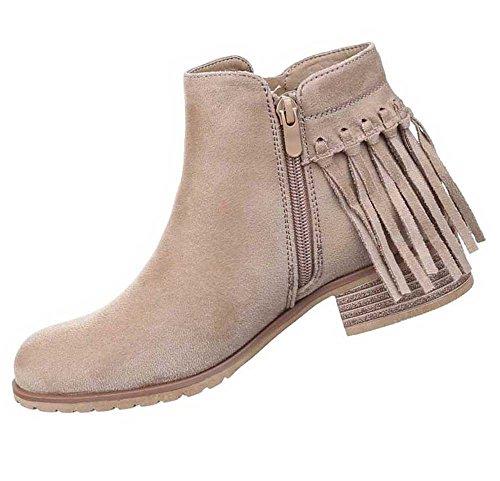 Damen Stiefeletten Schuhe Fransen Boots Schwarz Beige