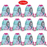 Amycute 12 Pack Mermaid Drawstring Party Bag, Gift Bags, Favor Bags Birthday, Drawstring Backpack Bulk,Birthday Party Supplies Favor Bag for Kids Children Girls Baby Shower