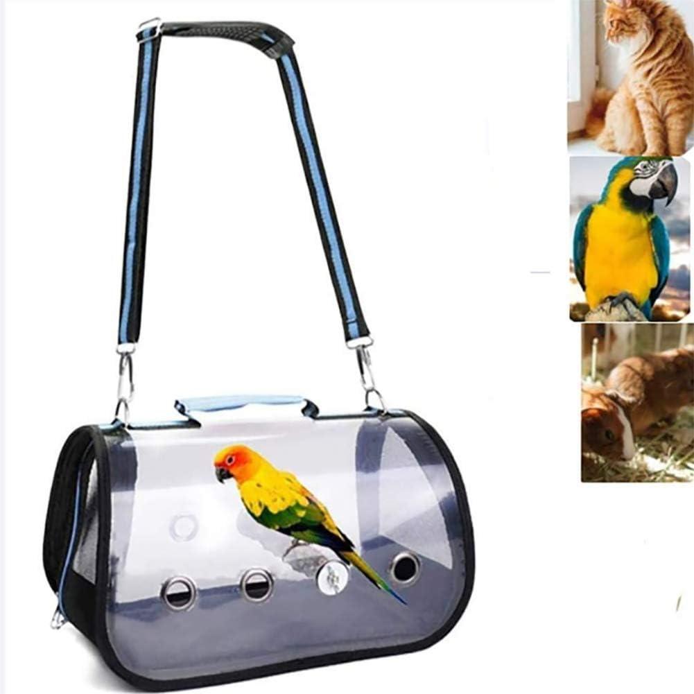 Moter Aves de Mano, Transparente y Transpirable Loro Cartera Hecha de PVC Travel Jaula con un palillo de Madera portátil Nido de pájaro