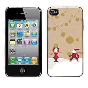 chen-shop design YOYO Slim PC / Aluminium Case Cover Armor Shell Portection //Christmas Holiday Santa Claus 1096 //Apple Iphone 4 high quality