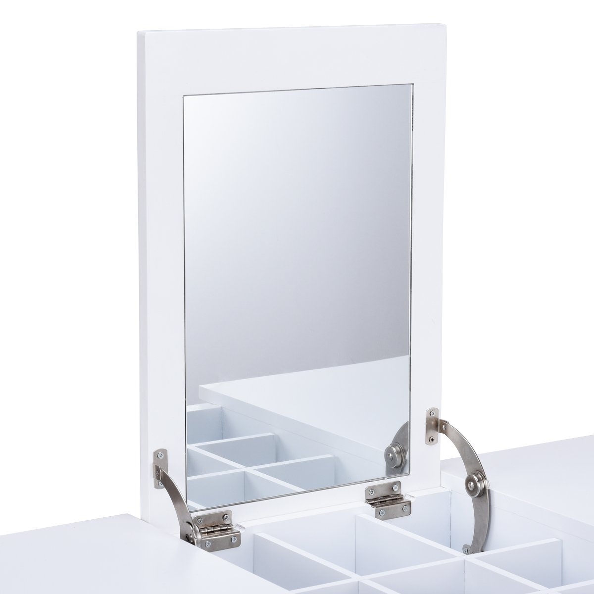 Giantex Vanity Table with Flip Top Mirror with 2 Drawers 1 Removable Organizer Dressing Table Vanity Table, White by Giantex (Image #5)