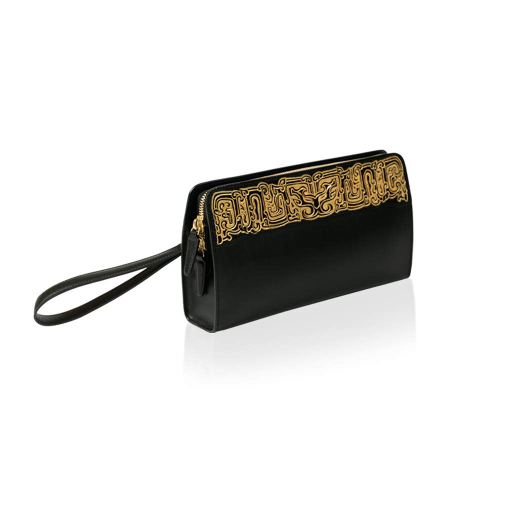 - Palace Museum Women Black Genuine Leather Wristlet Clutch Bag Wallet Small Handbag with Strap