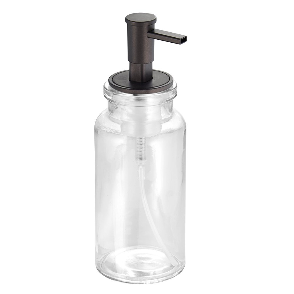 InterDesign Westport Glass Foaming Soap Dispenser Pump, for Kitchen or Bathroom Countertops - Clear/Satin Inc. 25025