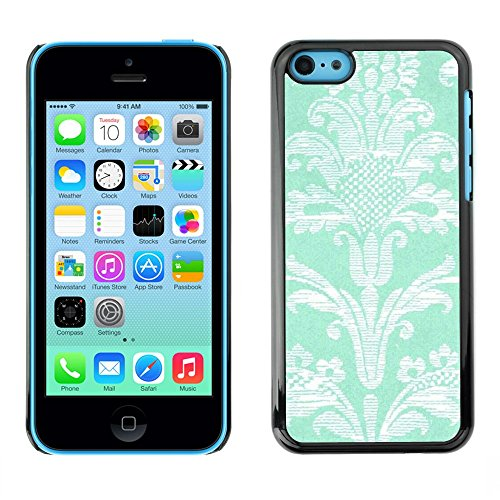 Soft Silicone Rubber Case Hard Cover Protective Accessory Compatible with Apple iPhone? 5C - pattern flowers turquoise wallpaper vintage