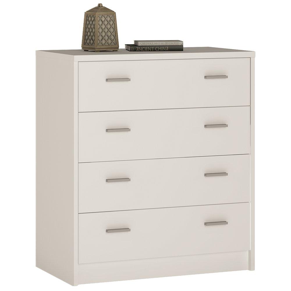 Furniture To Go 4 YOU 4-Drawer Chest with Melamine, 74 x 86 x 45 cm, Pearl White Wojcik 4051021