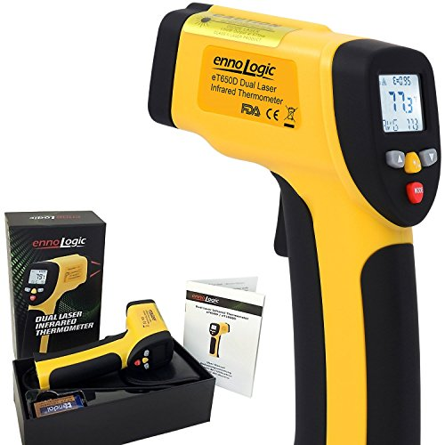 (ennoLogic Temperature Gun Dual Laser Non-Contact Infrared Thermometer -58°F to 1202°F - NIST Option Available - Accurate Digital Surface IR Thermometer eT650D)