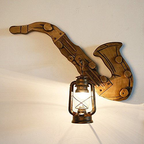 Creative Personality Loft Retro Industrial Sax Wall Lamp Bar Cafe Light Aisle Solid Wood Instrument Wall Lamp 680550Mm