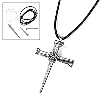 Amazon pewtertone metal nail cross necklace craft kits 1 dz amazon pewtertone metal nail cross necklace craft kits 1 dz toys games aloadofball Image collections