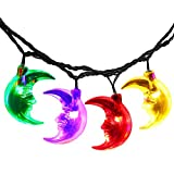 LuckLED Solar Powered LED Christmas Lights, 20ft 30 LED Moon String Lights for Outdoor, Gardens, Homes, Wedding, Christmas Party, Waterproof (Multi-Color)