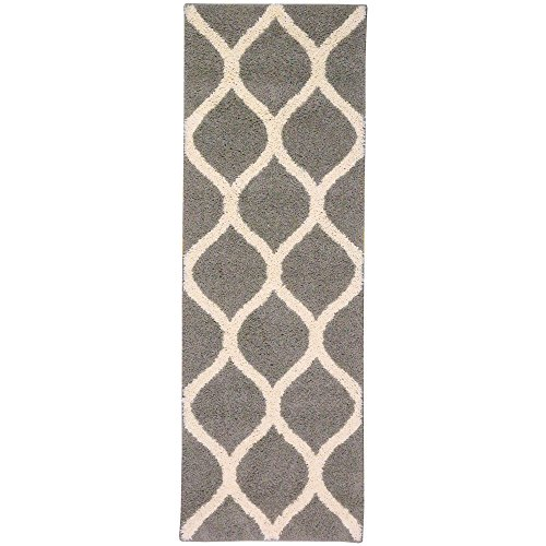 Runner Rug, Maples Rugs [Made in USA][Cassie] 2' x 6' Non Slip Hallway Entry Area Rug for Living Room, Bedroom, and Kitchen - Greystone