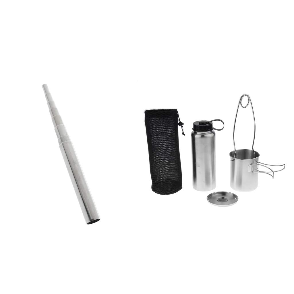 SM SunniMix Stainless Water Bottle Cup/Pot Kettle Mouth Spreader Hanger + Pocket Bellow Camping Cooking Set