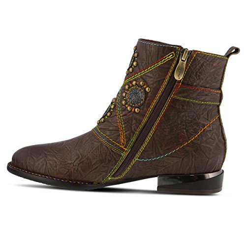 Women's Booties Spring Leather L`Artiste by Flash Step Brown qA7w6ant8W