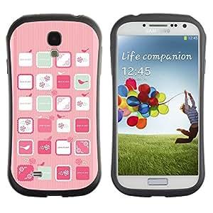 LASTONE PHONE CASE / Suave Silicona Caso Carcasa de Caucho Funda para Samsung Galaxy S4 I9500 / Pink Bird Art Woman Feminine Flowers