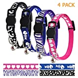 azuza Breakaway Cat Collar with Bell - Quick Release Safe Buckle Adjustable Cat Collars - Sky and Heart Pattern - 4 Pack