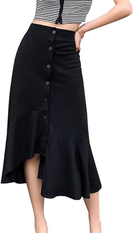 DAHDXD Falda Midi de algodón Flouncing Botón Sólido Moda Mujer ...