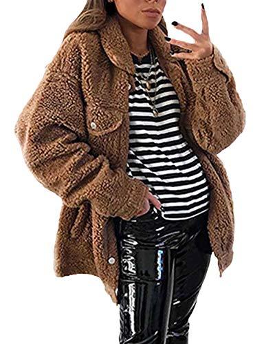 Unique Stlie Outerwear Lunga Puro Invernali Cappotto Donna Single Addensare Dark Autunno Breasted Colore Giaccone Fashion Giacche Brown Eleganti Casuale Manica Pwkn8X0O